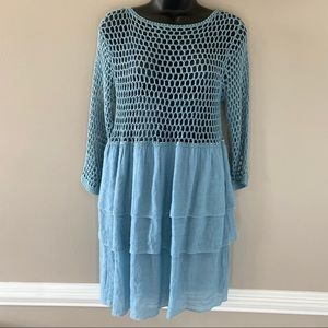 Jodifl Baby Blue Knitted and Layered Mini Dress